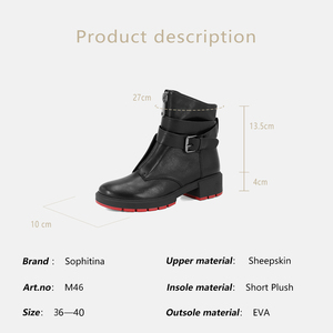 Image 5 - SOPHITINA stivali da donna classici in vera pelle di montone caldi stivali corti con tacco quadrato alla caviglia con cinturino con fibbia retrò scarpe femminili M46