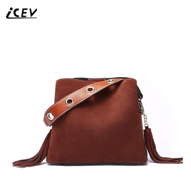 ICEV New Simple Tassel Genuine Leather Handbags Vintage Women Leather Handbags Scrub Designer Handbag High Quality Ladies Totes