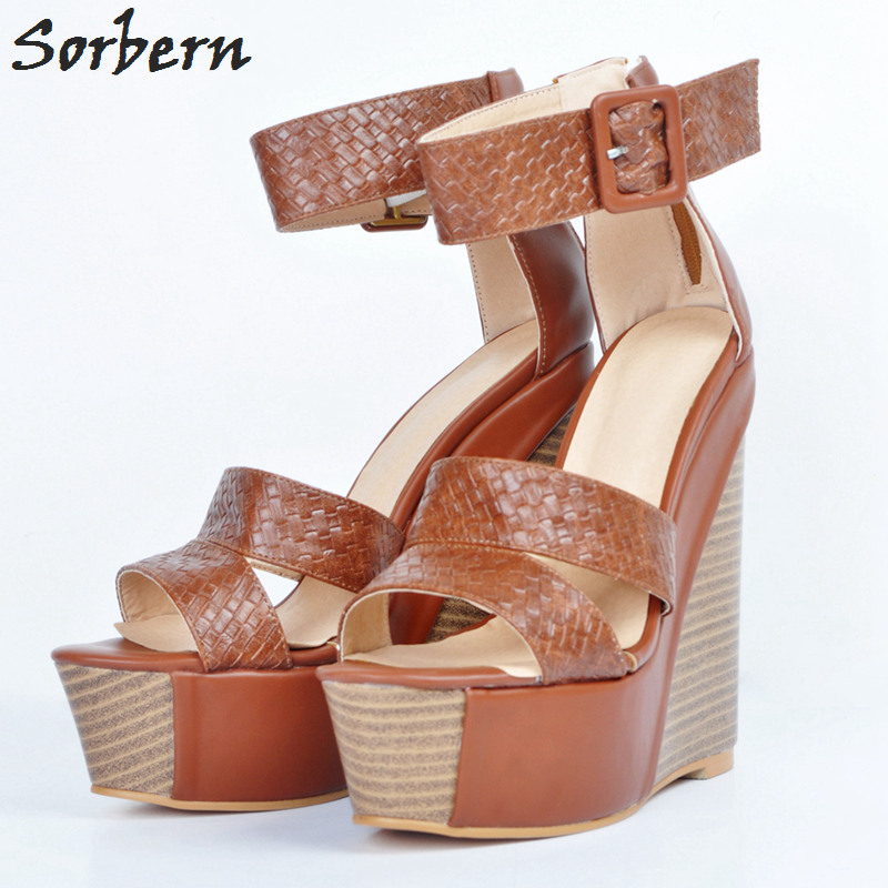 Sorbern Women Sandals Wedges Shoes Buckle Strap High Heels Sandals Women Shoes Ladies Party Platform Sandals Sexy Sandal New brand new strap high heels sandals women sandals with platform footwear woman evening shoes women sexy ladies shoes