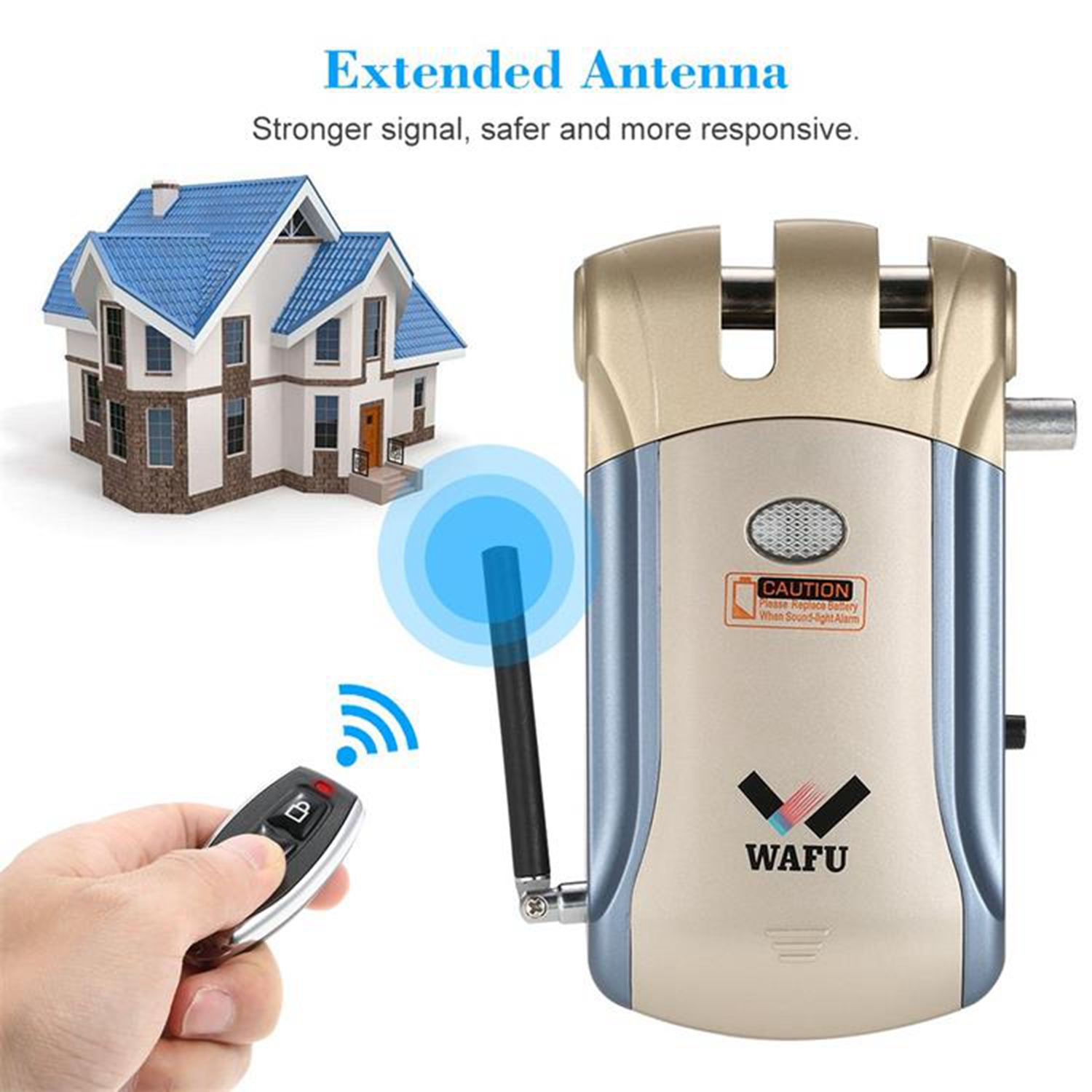 WAFU New Wireless Security Invisible Keyless Entry electronic Door Lock Home Smart Remote Control smart Lock with 4 Remote Keys in Door Locks from Home Improvement