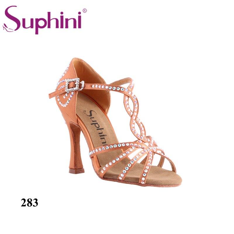 Ingyenes házhozszállítás Suphini latin tánc cipő klasszikus stílusú szatén anyag profi latin tánc cipő