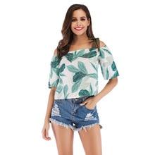 2019 Summer New Fashion Women Blouses Slash Neck Lace-up  Camis Beach Chiffon Half Sleeves Floral Print Casual Short Shirt navy random floral print camis