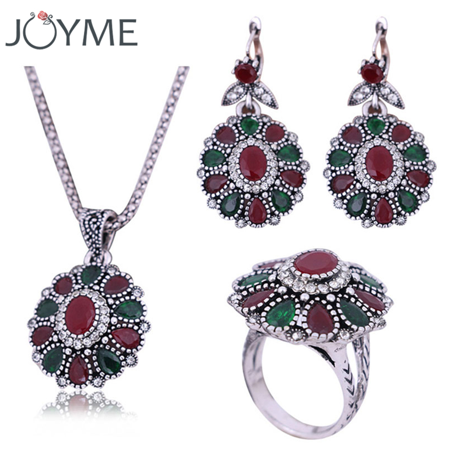 2018 New Red African Beads Nigerian Wedding Jewelry Sets For Women Necklace Ring And Earring Set Thailand Silver-Color Jewellery