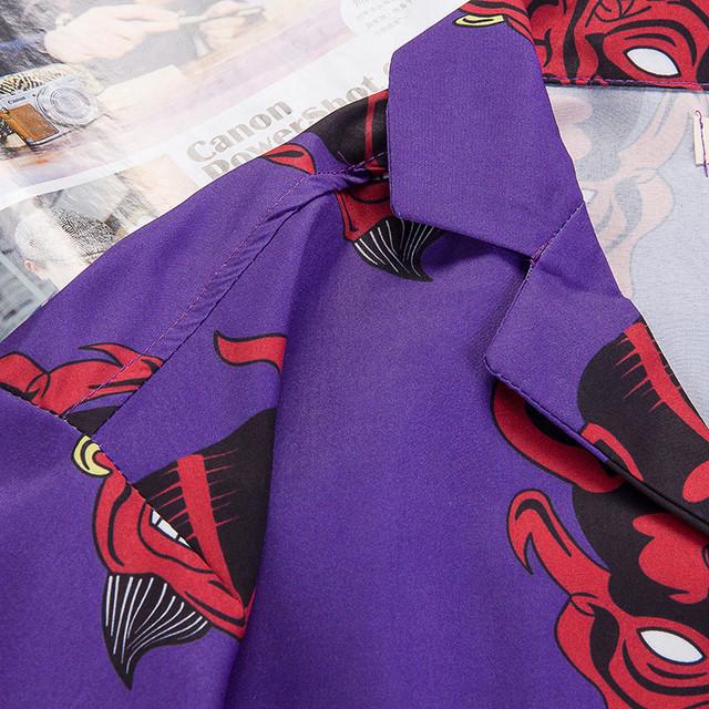 Devil Full Printing Turn-down Collar Casual Shirts Men 2018 Summer High Street Men's Shirts Pink /Purple