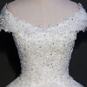 Image 4 - Fansmile foto Real de encaje de lujo vestidos de boda de bola 2020 personalizado de talla grande Vintage Vestido de novia FSM 075F