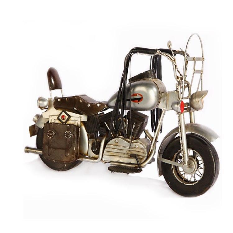 Do The Old Retro Iron Motorcycle Model Creative Gift Photo Props Motor Figurine Metal Handicraft Home Decoration Bar Cafe Decor