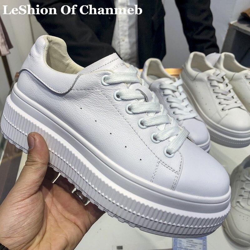 Blanc Formateurs Chaussures Épaisses formes Vache Fille Doux Collège Étudiants Femme Casual 2019 Sneakers Sneakers nude En Plates De Mode White Cuir wpBngqf
