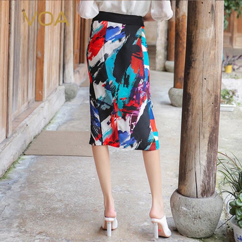 VOA 2018 Spring Summer Doodle Multicolor High Waist Slim Women Pencil Skirt Heavy Silk Office Lady Formal Midi Skirt C7557
