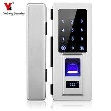 Yobang Segurança Fechadura Da Porta de Teclado de Toque Inteligente Eletrônico Inteligente Fingerprint/Senha/Cartão RFID Keyless Trava Para Porta De Vidro