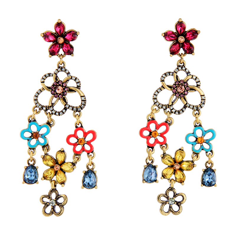 HuaZ 925 Silver Needle Europe and America Fashion Crystal Creative Openwork Oil Drops Earrings