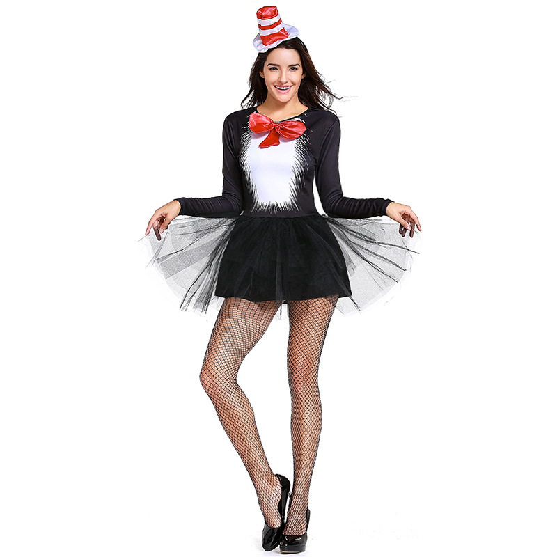 2018 Black Cat Girl Magicians Dress Performance Uniforms Cosplay Experience Cafe Maid Dress English COS Suit Dresses+Hat