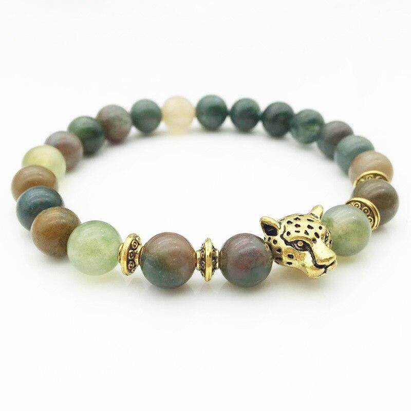 Trendy Natural Stone Leopard Head Bracelets for Men Buddha Crystal Chakra Women Bracelets Braslet Femme India Jewelry