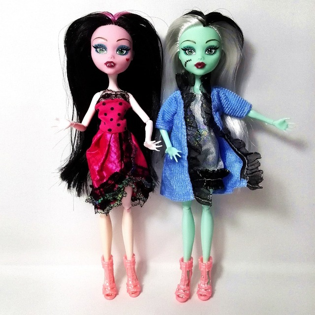 Cheapest NO BOX 4 pcs/set Dolls New Style high dolls Monster fun high Moveable Joint Body Fashion dolls Girls Toys Best Gift
