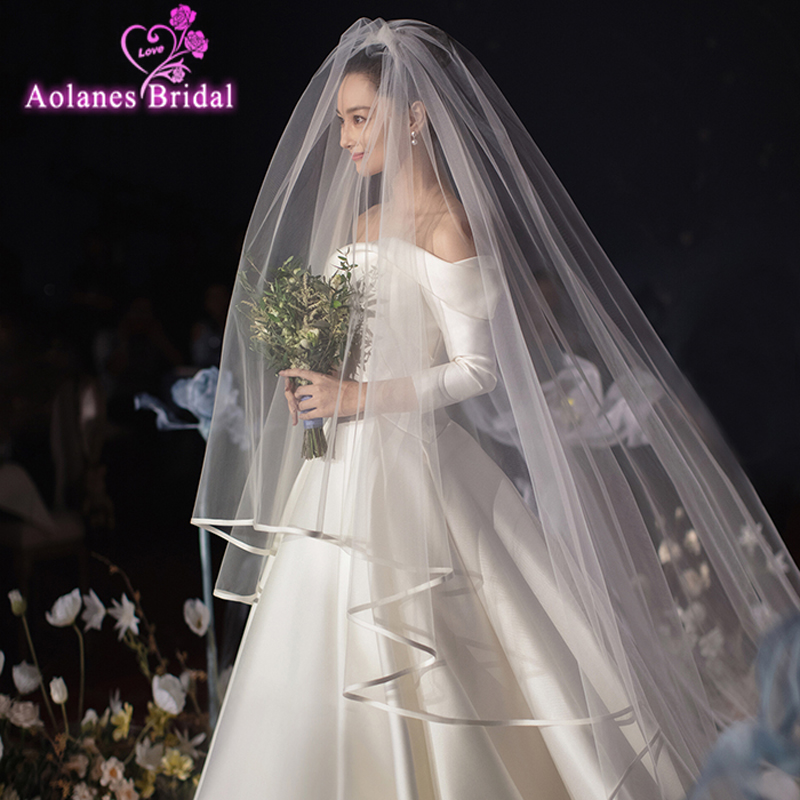 New Luxury Stain Edge Wedding Veils With Combom 3widex3.5/5m 3x1.2m 2 Layers Fashion Bridal Veil Wedding Accessories