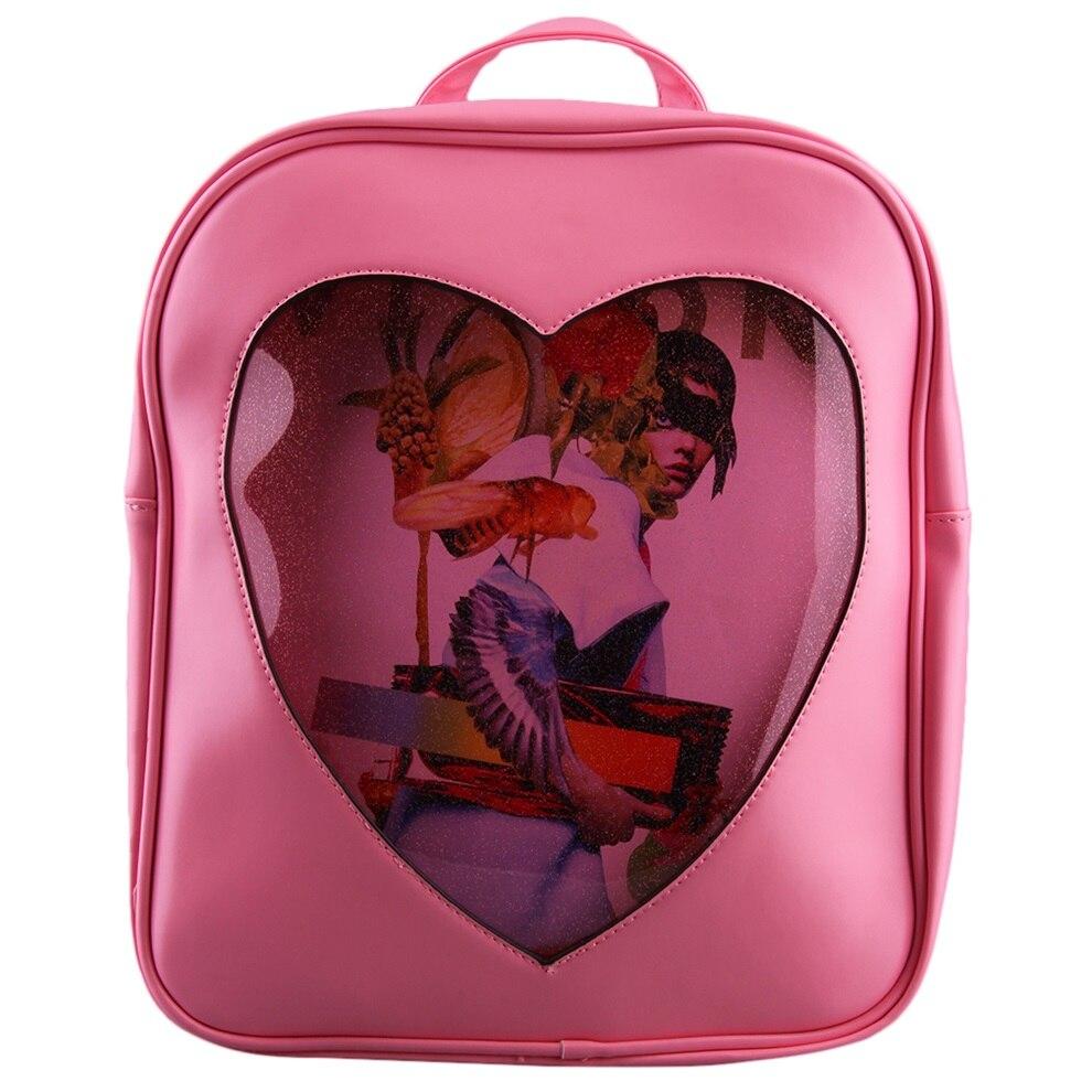Students Girl Transparent Love PU Leather Waterproof School Bag Backpack Heart shape Transparent Worldwide sale рюкзак girl pu yt00172334