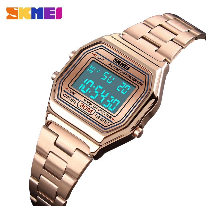 SKMEI Luxury Women Watch Stopwatch Chronograph Digital Wristwatch Waterproof Stainless Steel Sport Watch Clock Relogio Feminino