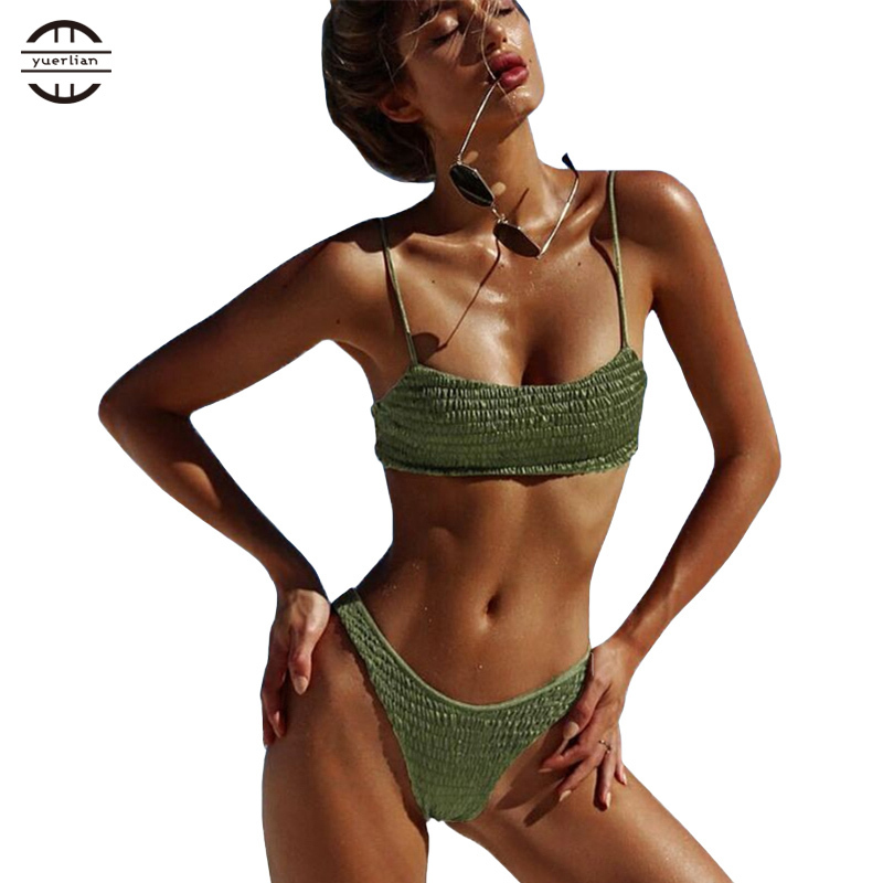 YEL Pleated Triangle Girls Bikini Set Brazilian Thong Femme Bathing Suit Sexy Bandeau Swimwear Women Triangle Bikini Swimsuit цены