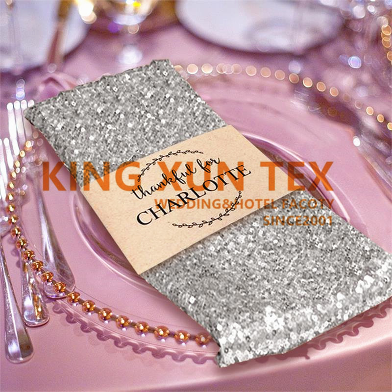 50pcs Lot Sequin Table Napkin Table Cloth Napkins For Wedding Event Hotel Decoration