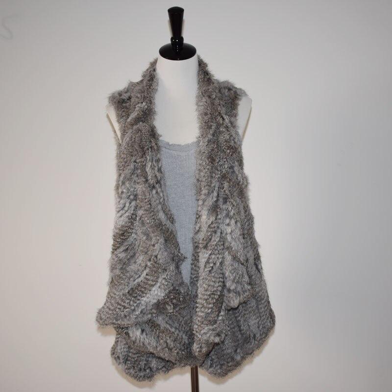(TopFurMall) Lady Fashion Real Knitted Rabbit Fur Vest Waistcoat Women Real Fur Gilet Outerwear Asymmetric length LF4097