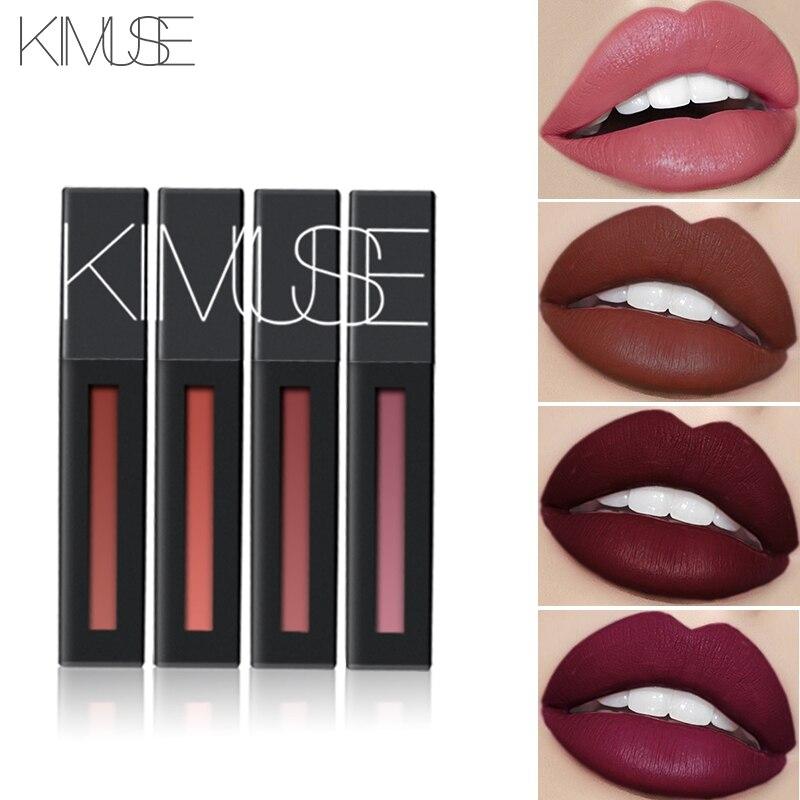 KIMUSE NEUE 3 teile/los Matte Lange anhaltende Flüssigkeit Lippenstift Kit Wasserdicht Lip Gloss Metallic Machen Up lippenstift set Einfach zu Tragen