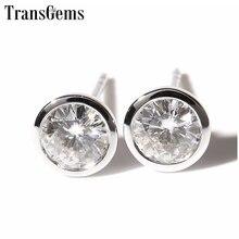 Transgems Classic 14K 585 White Gold Moissanite Earrings for Women 5mm F Color Bezel Set Stud Push Back