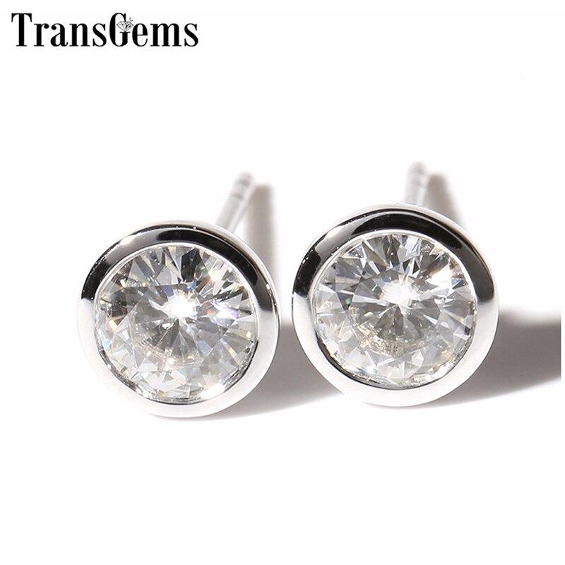 Transgems Classic 14K 585 White Gold Moissanite Earrings for Women 5mm F Color VVS Moissanite Bezel Set Stud Earrings Push Back