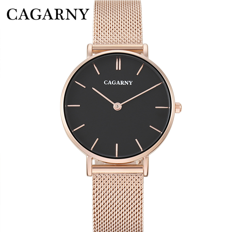 Cagarny Watch Women Watches Ultra Thin Rose Gold Steel Mesh Band Analog Ladies Quartz Watch Wristwatches Relogio Feminino 33mm women fashion watches rose gold rhinestone leather strap ladies watch analog quartz wristwatch clocks hour gift relogio feminino
