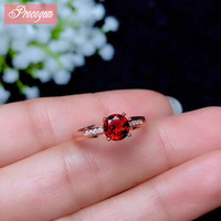 Natural Garnet Rings for Women Anniversary gift Round 6mm Genuine gems New fine Jewelry Ring S925 silver 18K Gold plated #147