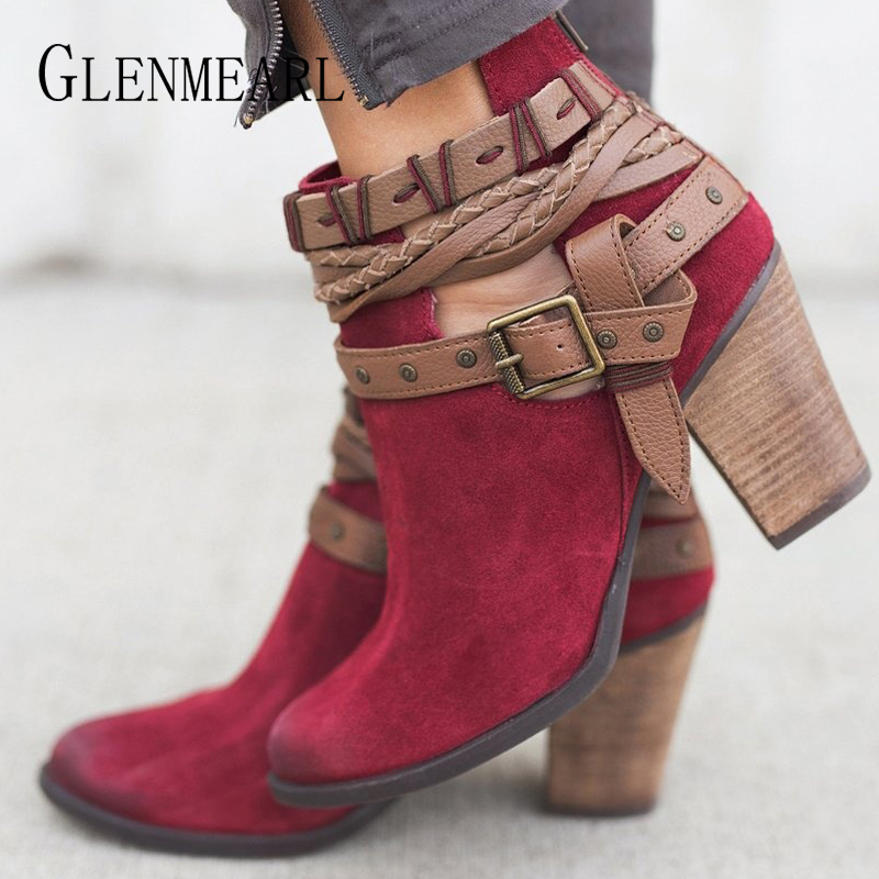 Fashion Women Boots Winter Shoes High Heels Rivet Buckle Ankle Boots Woman Casual Shoes Round Toe Female Chelsea Boots Plus Size enmayer bling platform shoes woman round toe ankle boots for women high heels zippers white shoes plus size 34 47 winter boots