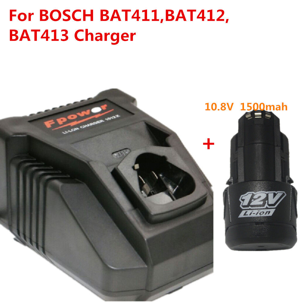купить NEW Replacement charger for BOSCH Power tool 10.8v/12v Li-ion BC430 ,BAT411,BAT412,BAT413 charger +1pcs battery недорого
