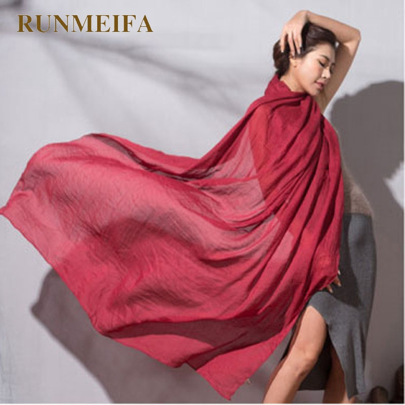 RUNMEIFA New Cotton Line Scarf Women Summer Solid Color Scarf  Spring  Summer Soft Comfortable 70*180 Wholesale