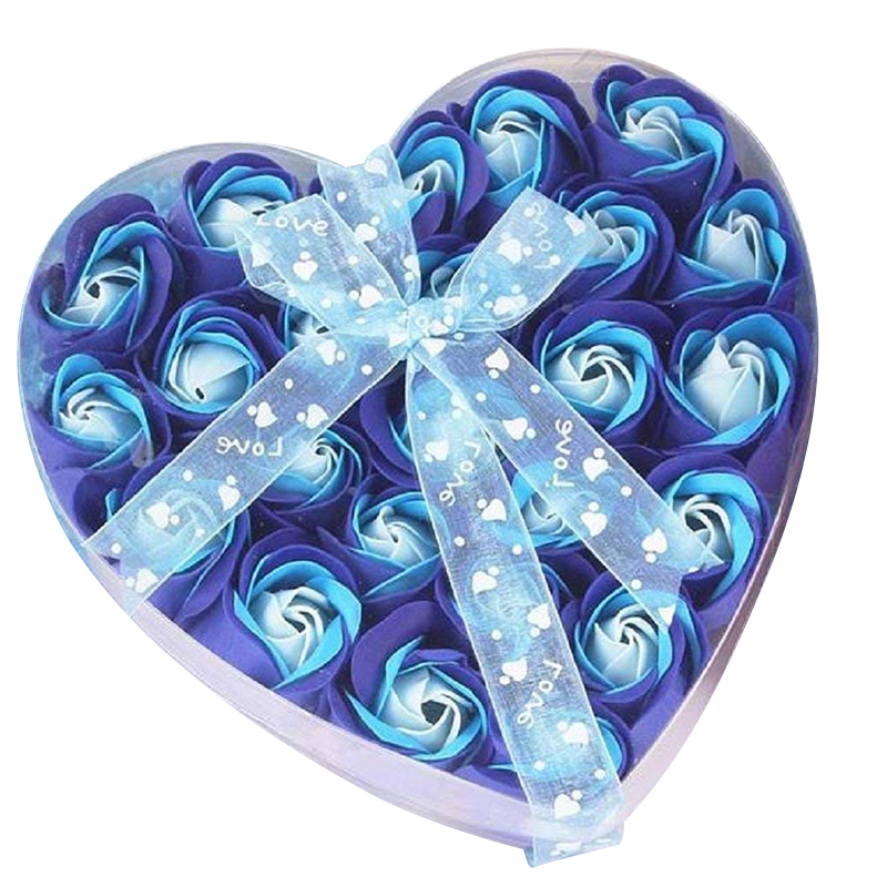 Lovely 24 Pcs Red Scented Bath Soap Rose Petal In Heart Box (Blue)