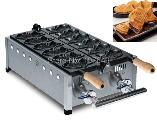 Hot Sale 6pcs Commercial Use Non-stick LPG Gas Taiyaki Machine Maker Baker Iron 6pcs commercial use non stick lpg gas korean egg bread gyeranbbang machine iron baker maker