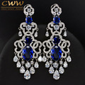 Luxury African Nigerian Design Dangling Drop Cubic Zirconia Big Royal Blue Vintage Wedding Earring For Brides CZ380