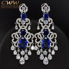 De lujo Africano Nigeriano Diseño Colgando Gota Cubic Zirconia CZ380 Grande Azul Real de La Vendimia Pendiente de La Boda Para Las Novias