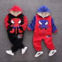 スパイダーマン男の子服セット綿スポーツスーツ男の子用子供服幼児の女の子冬のジャケット+パンツコスプレ衣装回