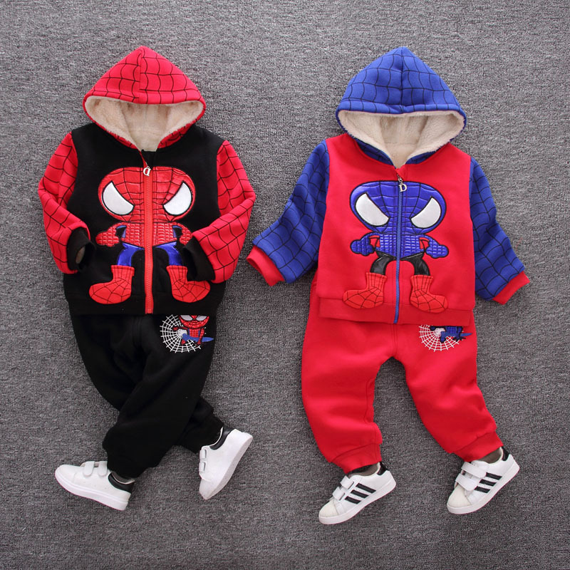 Spiderman Baby Boy Clothing Sets Cotton Sport Suit For Boys KIds Clothes Toddler Girls Winter jacket + pant Cosplay Costumes 1st 2017 new children clothing sets baby girls boys winter warm clothes 2pcs cute panda velvet christmas outfits suit shirt pant