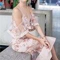 2016 Nuevas Mujeres Del Verano Vestido de Playa de Estilo Flojo Ocasional Sexy Vestido de Encaje Blackless Sirena Correas Vestido Largo Vestidos de La Venta Caliente LS152