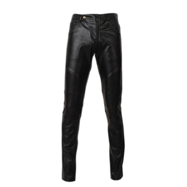 Fashion Solid Full Length Men Pants Low Waist Slim Pencil Pants Male Breathable Stretch Faux Leather Trousers