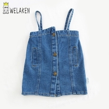 WeLaken/Детские платья для девочек; джинсовое платье без рукавов для малышей; детская одежда; Модная одежда для маленьких девочек; платье