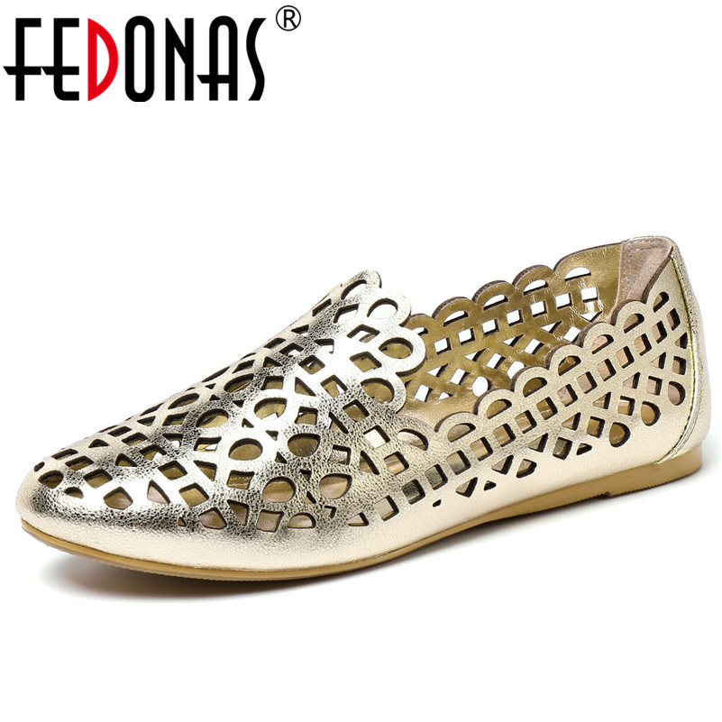 FEDONAS Classic Hollow Women Flats Shoes Woman 2019 Summer New Comfortable Breathable Shallow Loafers Casual Basic