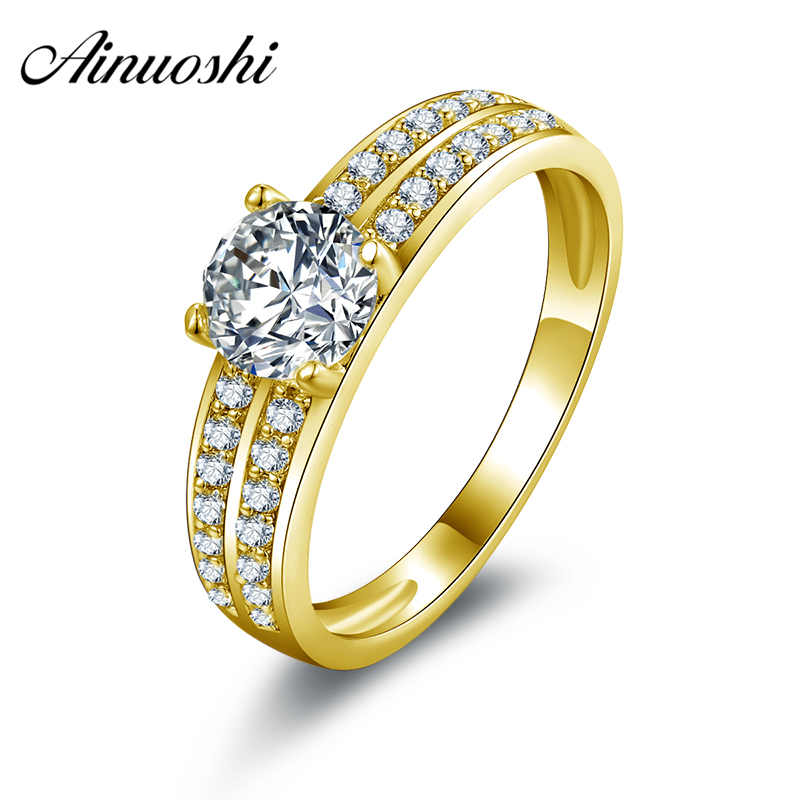 AINUOSHI 10k Solid Yellow Gold Weding Rings Young Lady Joyeria Fina Cuestomized Classic 0.8 CT Round Cut CZ Women Wedding Rings цена