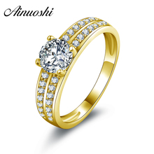 AINUOSHI 10k Solid Yellow Gold Weding Rings Young Lady Joyeria Fina Cuestomized Classic 0.8 CT Round Cut CZ Women Wedding Rings