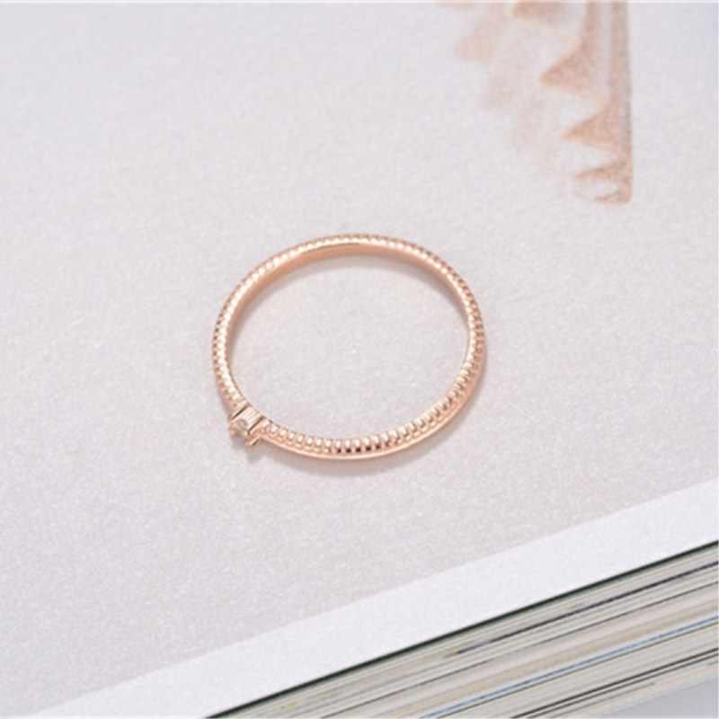 CC Eenvoudige Sterling Zilveren Ringen Voor Vrouwen Enkele Zirconia Boor Staart Ring Dubbele Kleur Engagement Party Accessoires CC1473