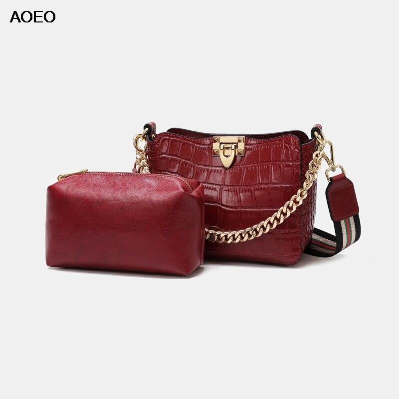 AOEO Alligator Pattern Luxury Women Shoulder Bags Lady Chain Handbag Split Leather High Quality Composite Crossbody
