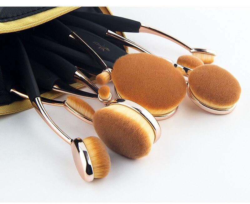 Anmor Professionnel 10 PCS Rose Or Ovale Maquillage Pinceaux extrêmement Souple Make Up Fondation Pinceau Poudre Kit avec Noir sac 5