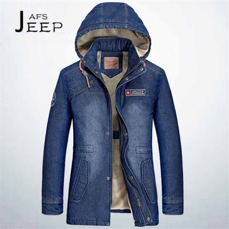 AFS JEEP Dark Blue/Sky Man's Man's Winter Cashmere inner Denim Hooded Jacket,Brand Young mans La chaqueta de calentamiento winte