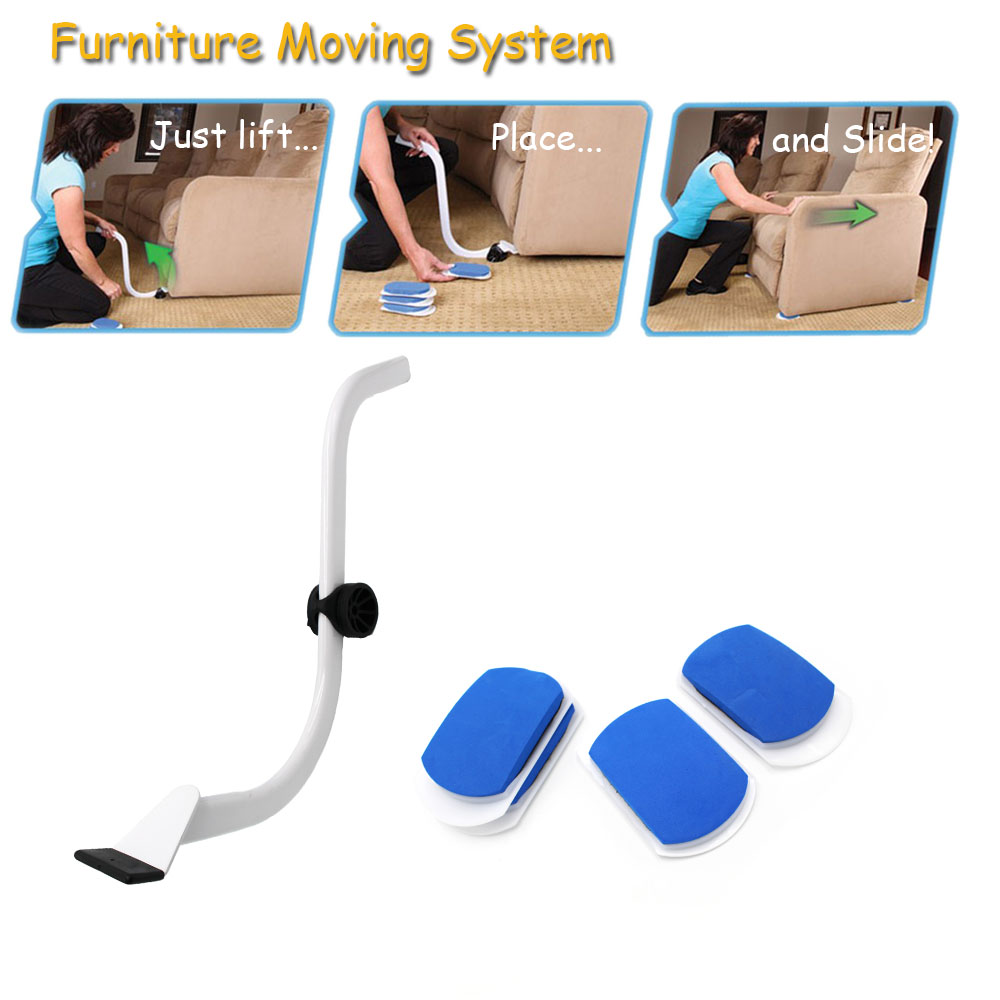 New furniture moving system with 1 lifter 4 slides high - Easy to move couch ...
