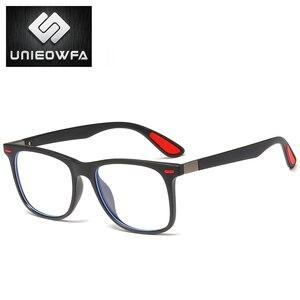 Image 4 - UNIEOWFA Retro şeffaf gözlük çerçeve erkek kadın optik miyopi gözlük çerçevesi şeffaf gözlükler TR90 reçete gözlük