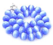 Grande 14mm AAA + collar de piedra de ojo de Gato Azul con Gran luz de la luna CLASP-5259 Al Por Mayor/al por menor Envío gratis